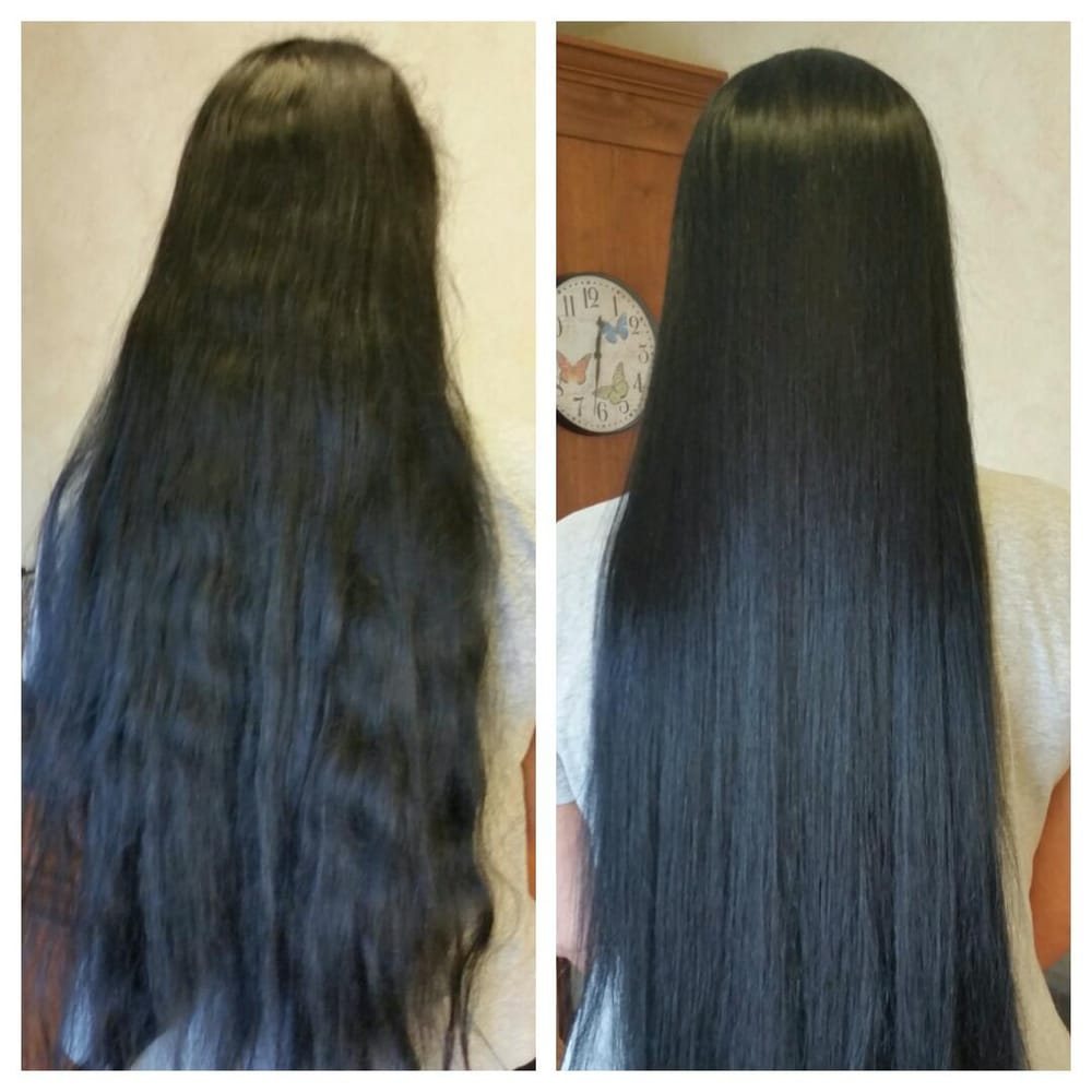 Before and after my Brazilian Blowout. My hair is so much ...