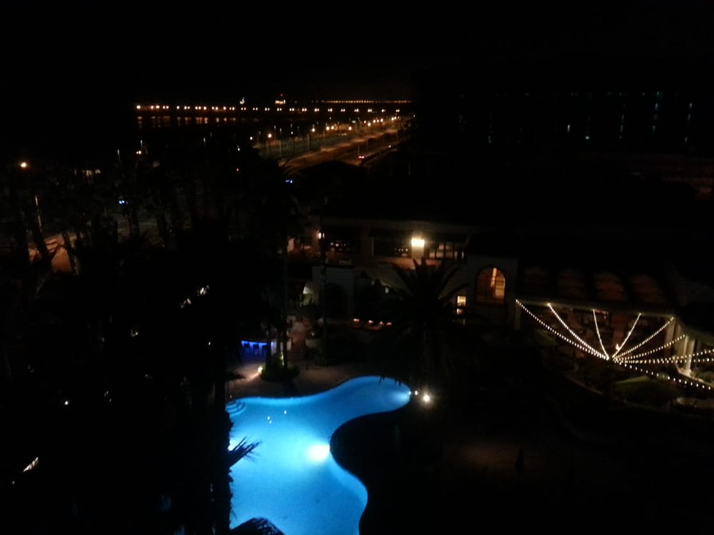 Night view of the pier pool and restaurant area from the for Balcony night view