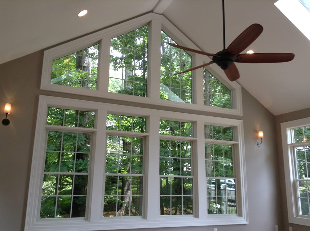 Sunroom Addition With Anderson Trapezoid Windows Hardwood