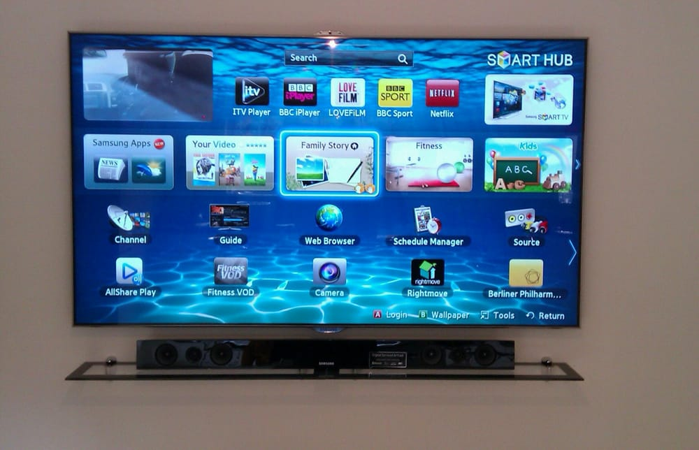 55 Samsung Smart Tv Wall Mounted With All Cabling Out Of Sight Yelp