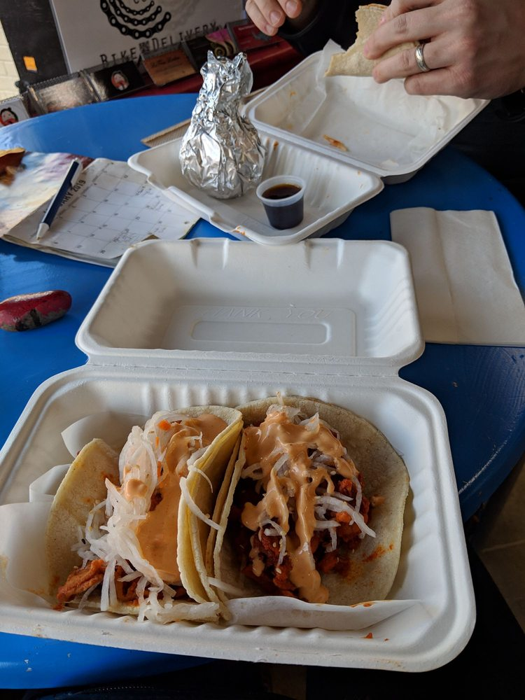 Food from Chi's Korean Tacos