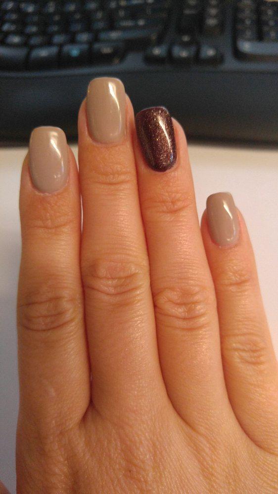 Gel polish on acrylic overlay on my natural nails. - Yelp