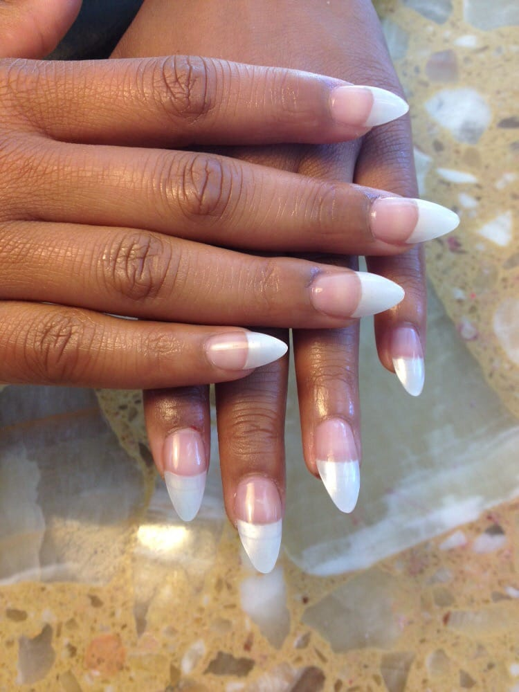 American tip acrylic stiletto nails - Yelp