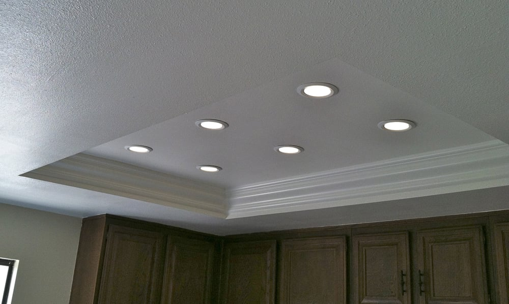Recessed Lighting Yelp : The same kitchen lighting after with new crown molding