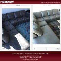 Photo Of Fibrenew   Tampa   Tampa, FL, United States. Grey Analine Leather