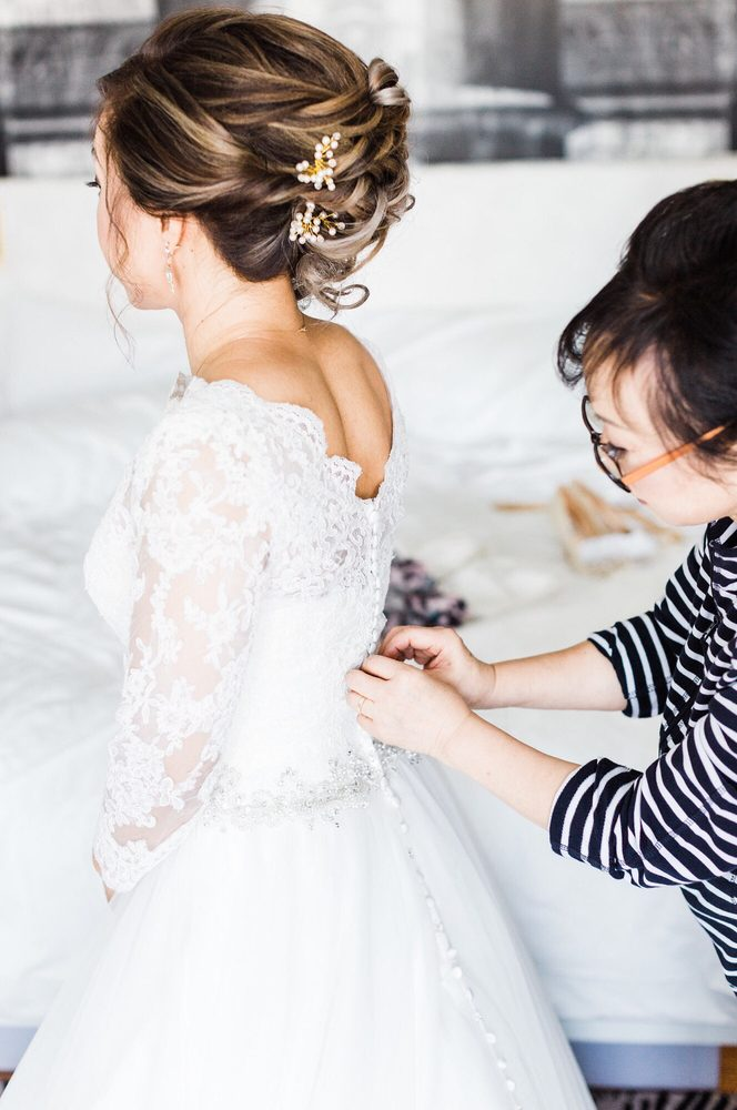 Buttoning Up The Lace Bolero On My Sweetheart A Line Wedding Dress