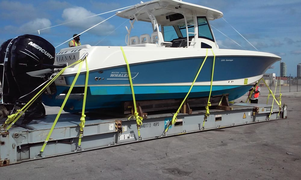 Vacation Outrage >> Flat Rack loading method for Boston Outrage 370 Boat from Port Everglades, Florida to Algeciras ...