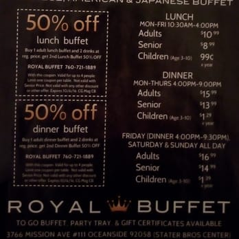 Asian royal buffet coupons