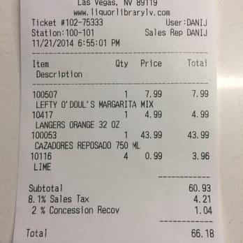 Po Of Liquor Library Lv Las Vegas Nv United States My Receipt