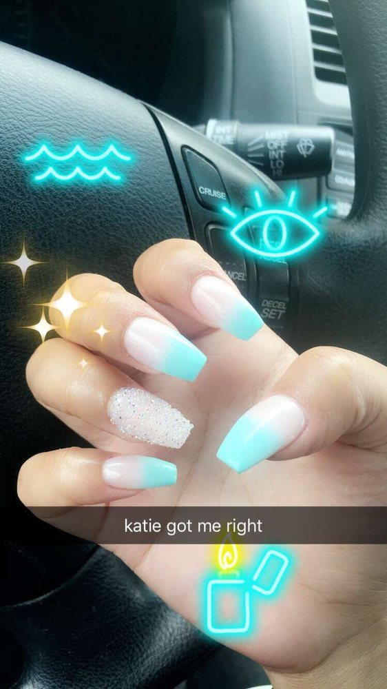 aqua and nude coffin shaped ombre with crystal accent nail by katie ...