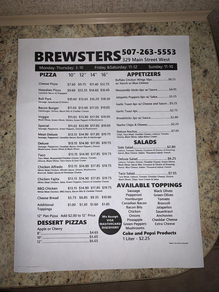 Brewster's Pizza: 329 Main St W, Cannon Falls, MN