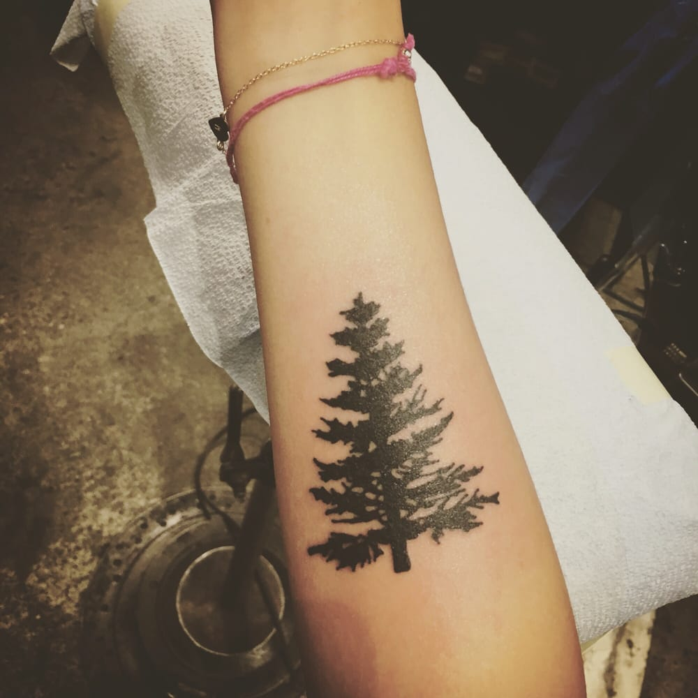 Little pine tree to remind me of the evergreen state yelp for Evergreen tree tattoo