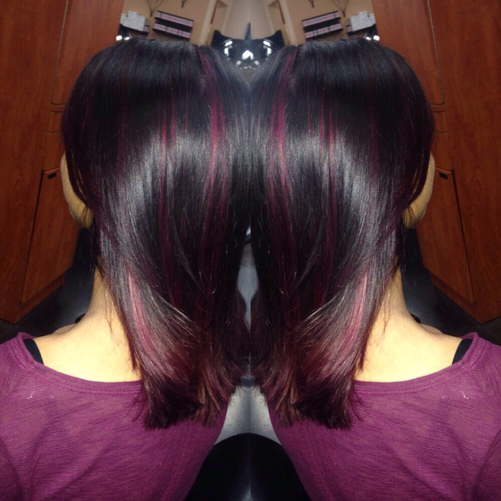 Fun late night color peekaboo highlights of red violet don ...