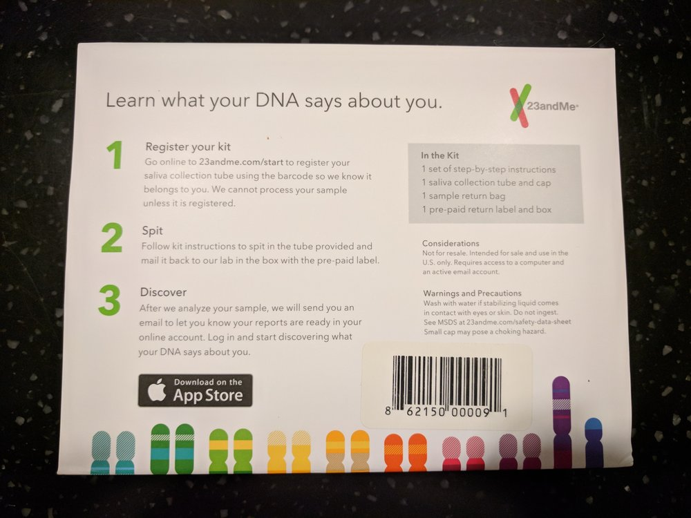 Back of the Ancestry box  - Yelp