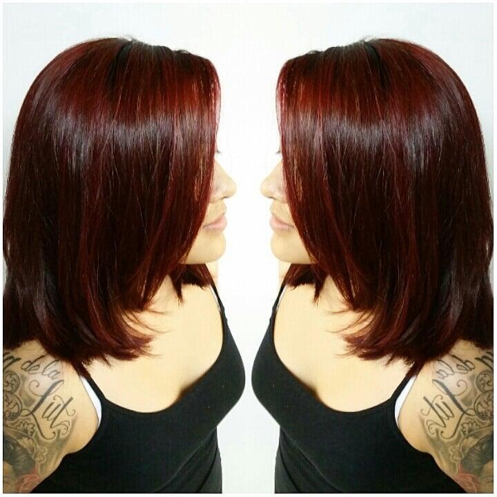 Deep Burgundy Red Hair Color On Shoulder Length Layered Haircut Yelp