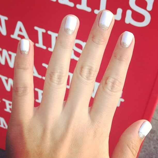 Mobile Nail Spa Los Angeles: White With Gold Glitter Half-moon Gel Mani