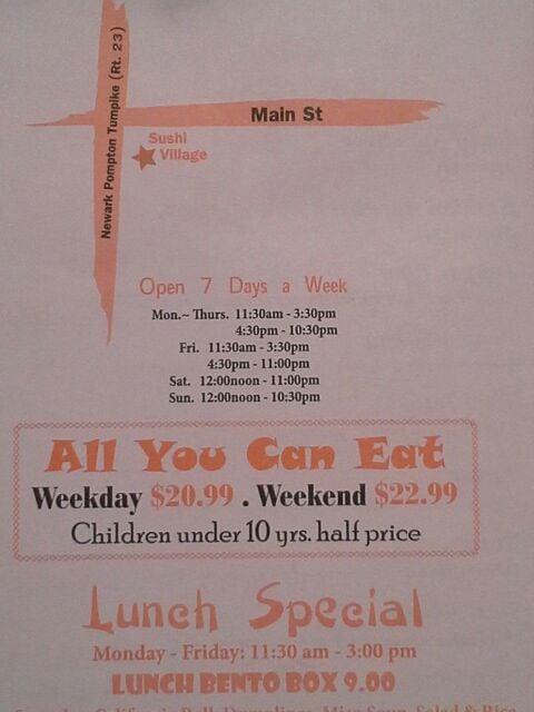 sushi village hours westwood nj