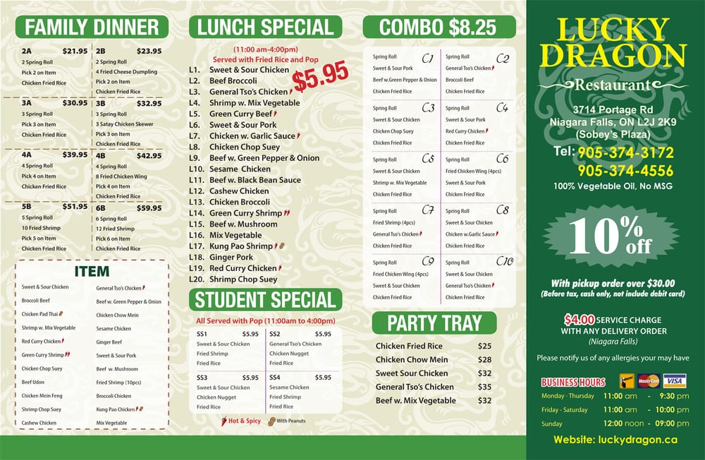 Lucky Dragon Restaurant - Chinese - 3714 Portage Road