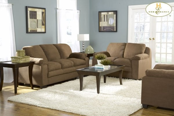 Brown microfiber sofa set 599 also available in light - Microfiber living room furniture sets ...