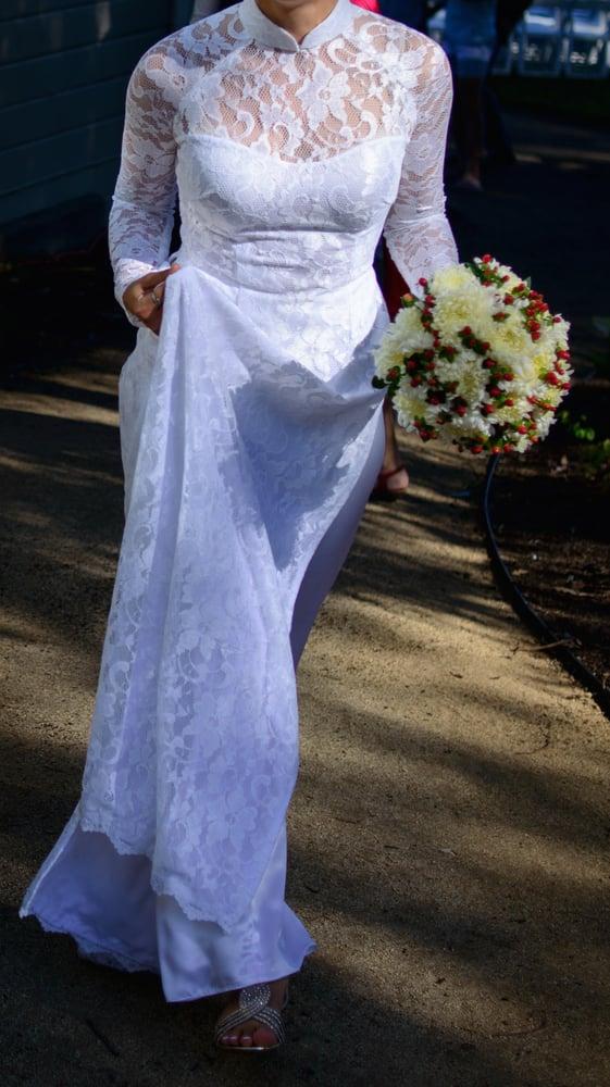 White on white ao dai wedding dress, with 2\' train - Yelp