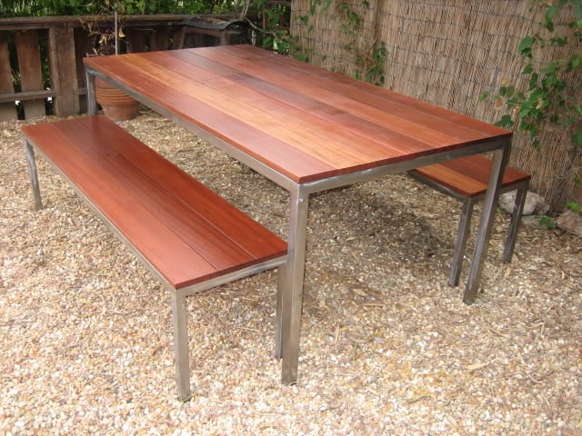 Stainless Steel Outdoor Table With Red Mangaris Top Two Benches - Custom stainless steel table top