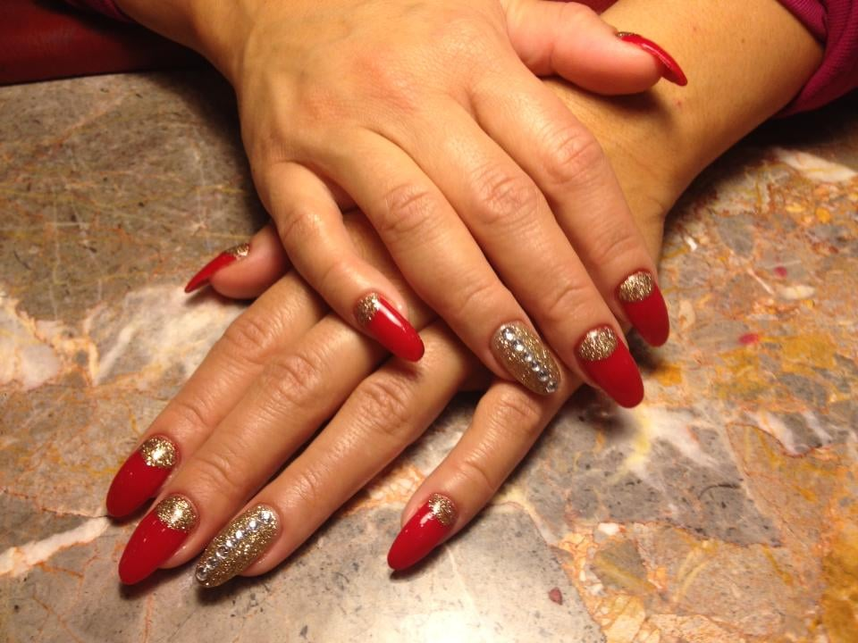 My holiday nails, Red/gold glitter design with diamond detail ...
