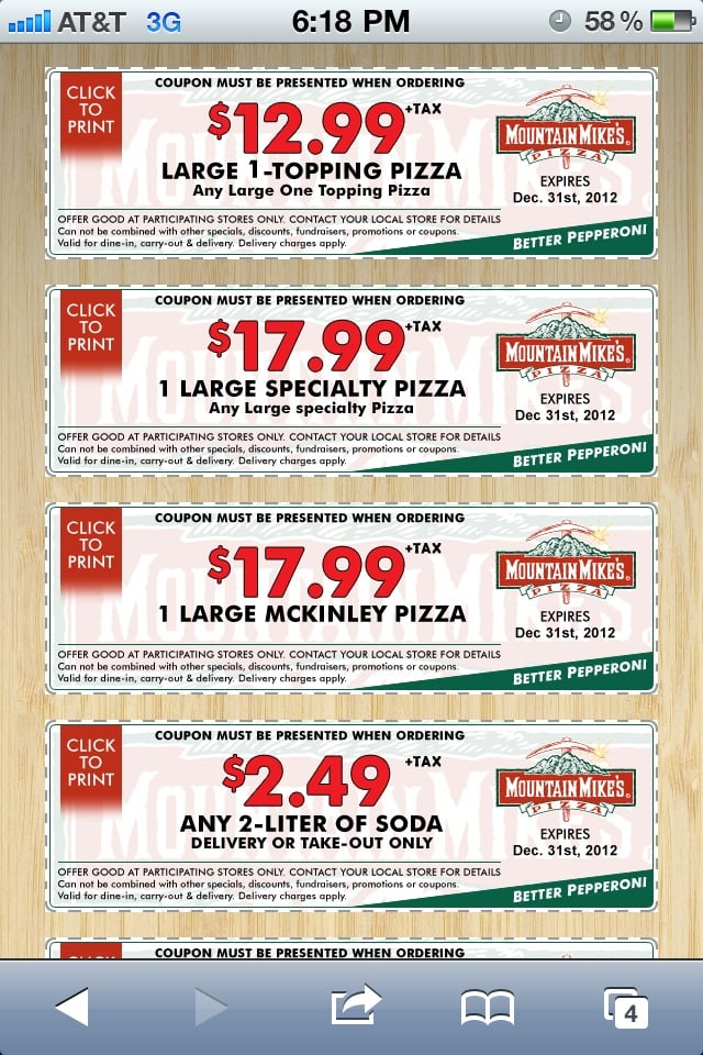 Mountain Mike's Pizza is a popular chain of specialty pizzas operating in California, Utah, Oregon and Nevada. When you visit any location of Mountain Mike's Pizza, you can get some healthy discounts on all orders by applying the Mountain Mike's Pizza coupons brought to you exclusively by sepfeyms.ga
