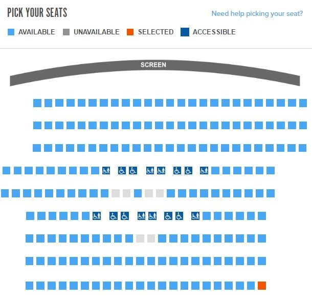 fandango theater seating chart the seats at the top are