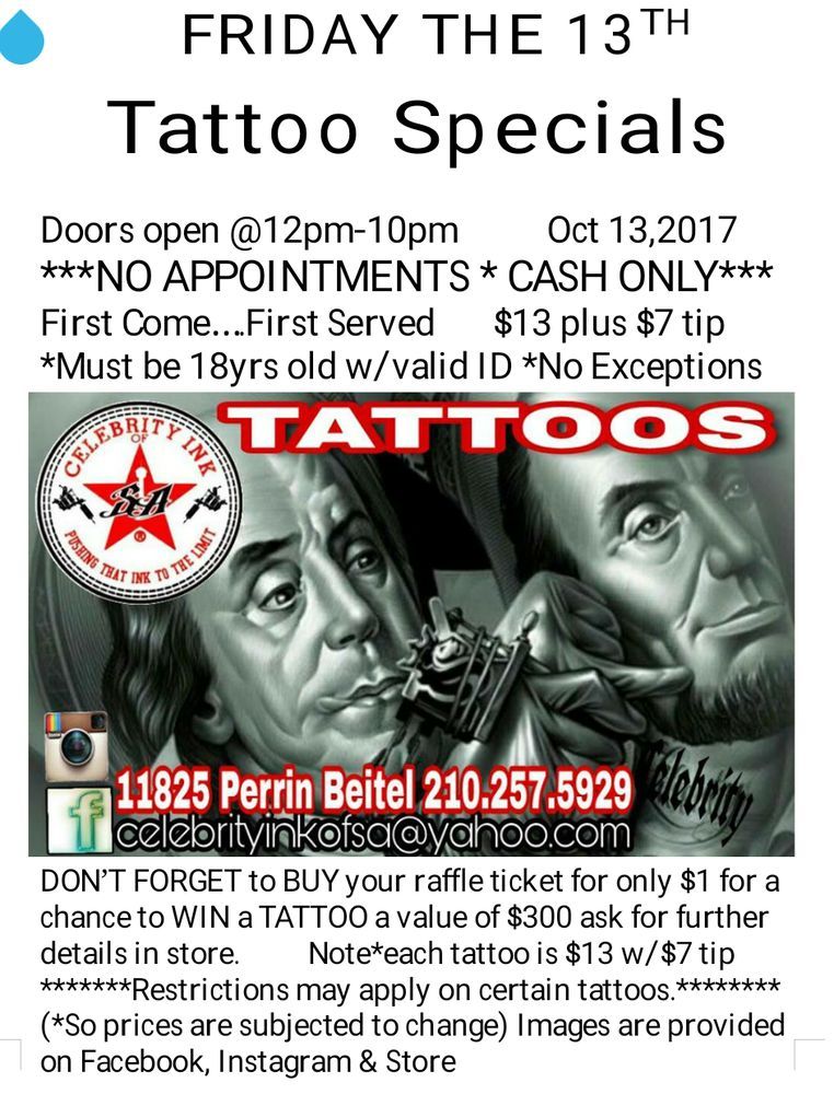 Friday the 13th tattoo specials doors open at 12pm 10pm no for Friday the 13th tattoo specials near me