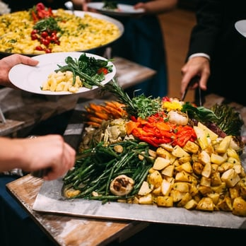... TX, United States. Roasted vegetables and chili mac & cheese (photo by