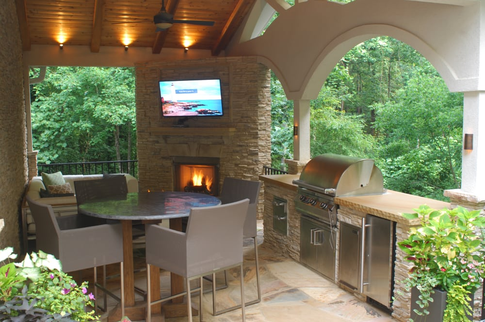 Fireplace Grill Station Stone Patio And Covered Structure Yelp