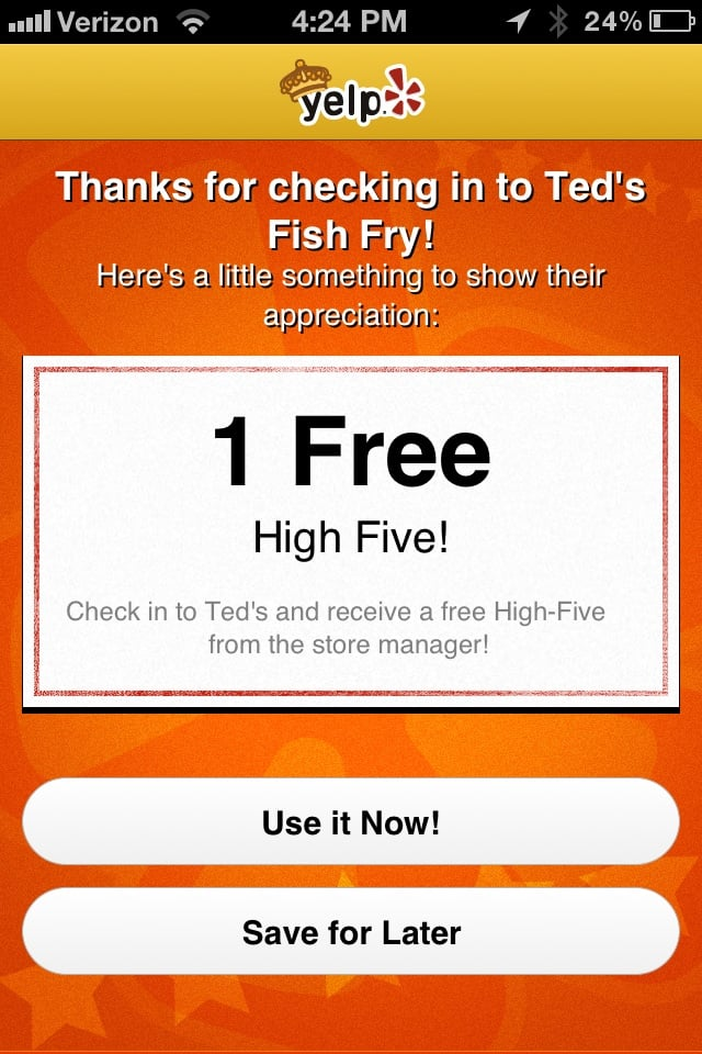 Really i think i 39 ll save this offer for later yelp for Ted s fish fry