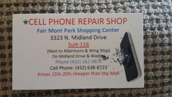 Cell phone repair mobile phone repair 3323 midland dr for Phone repair business card