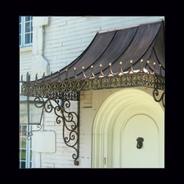 Custom Made Decorative Antique Copper Awning With Wrought