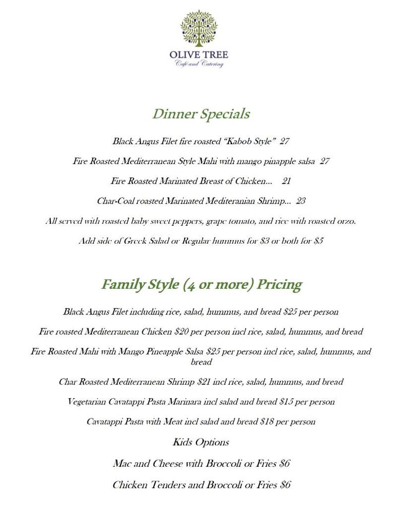 Food from The Olive Tree Cafe & Catering