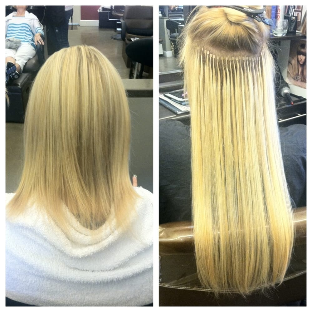 Links hair extensions image collections hair extension hair micro link hair extension system before and during application yelp photo of annie gill hair stylist pmusecretfo Images