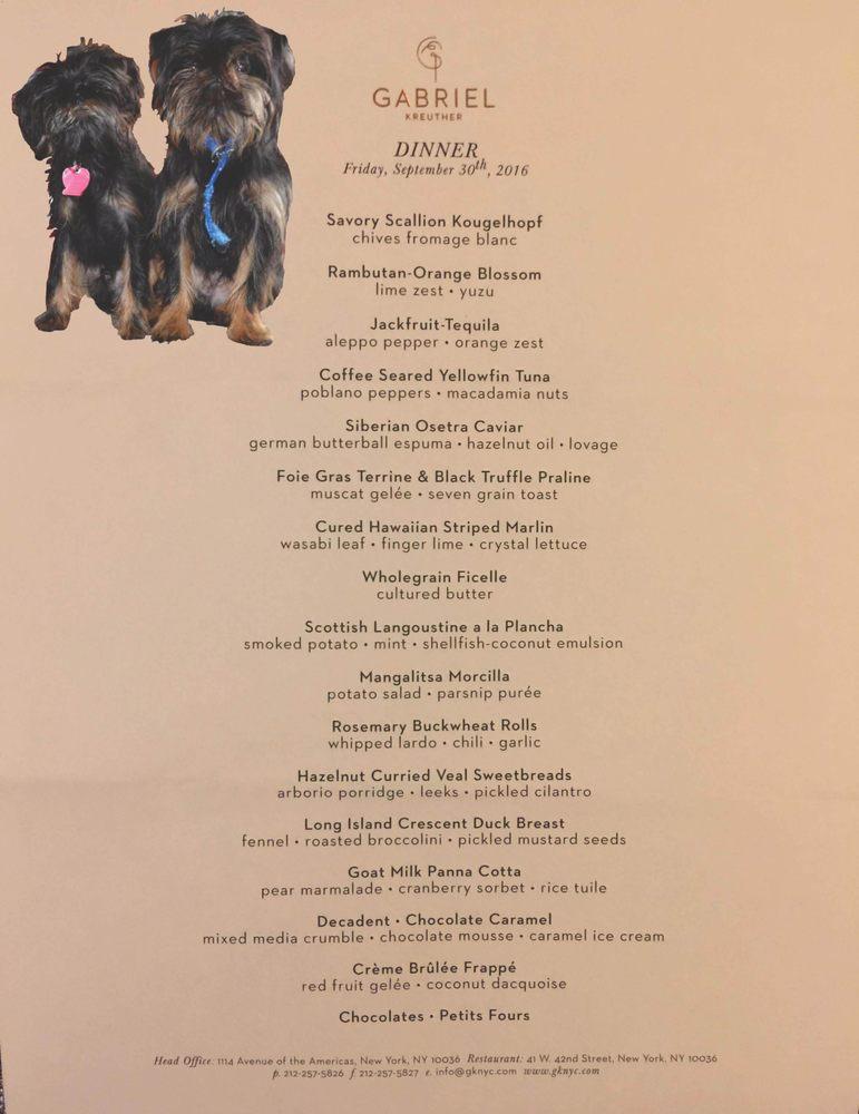 Image result for gabriel kreuther menu