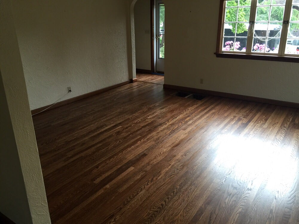 Top nailed red oak hardwood newly refinished with an for Hardwood floors unlimited