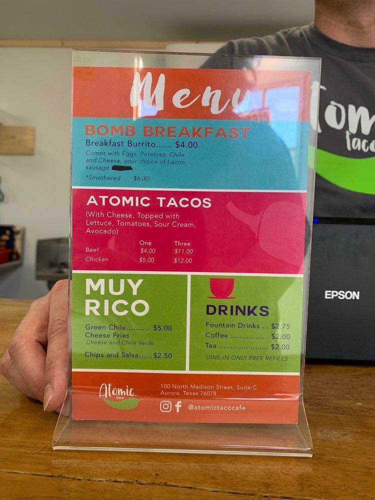 Atomic Taco Cafe: 100 N Madison St, Aurora, TX