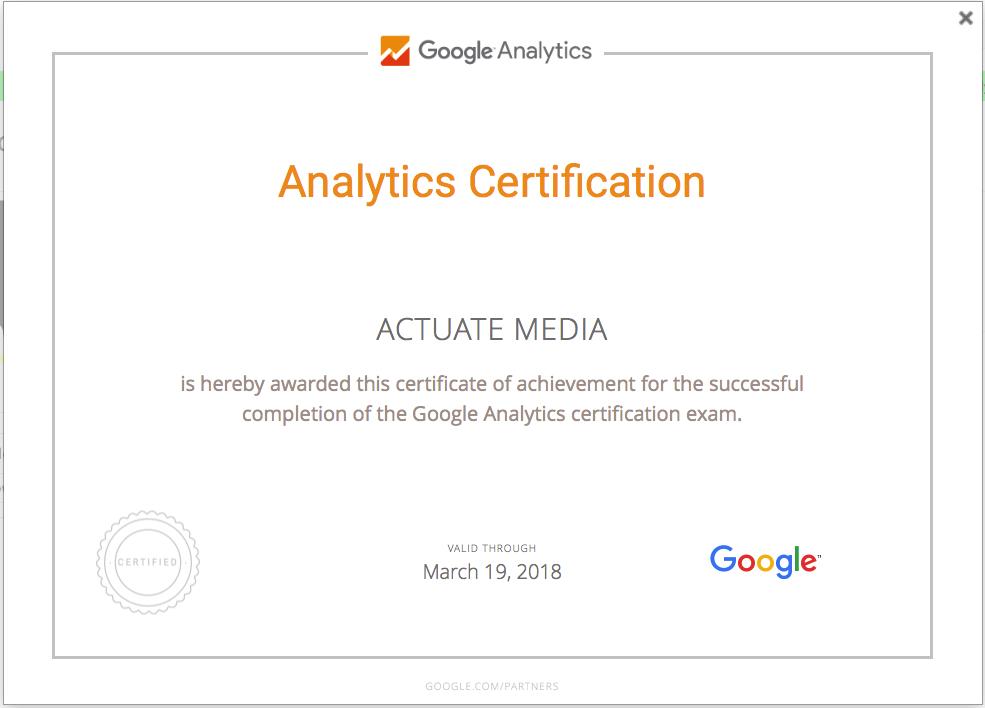 Actuate Media Google Analytics Certification Yelp