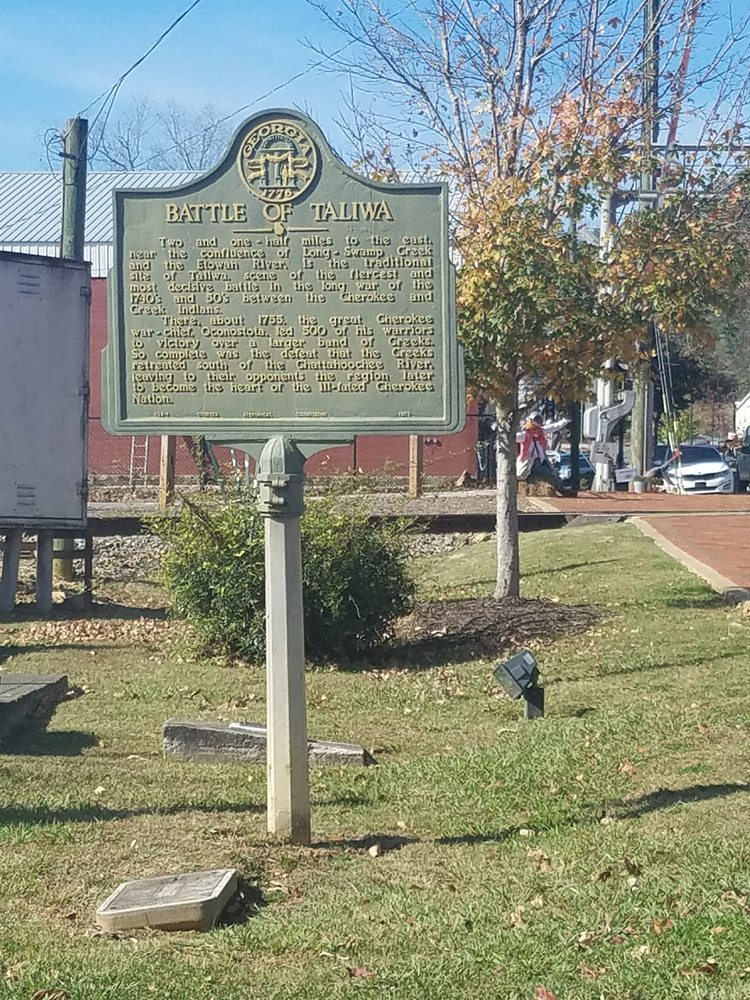 Battle of Taliwa Historical Marker: 298 Gilmer Ferry Rd, Ball Ground, GA