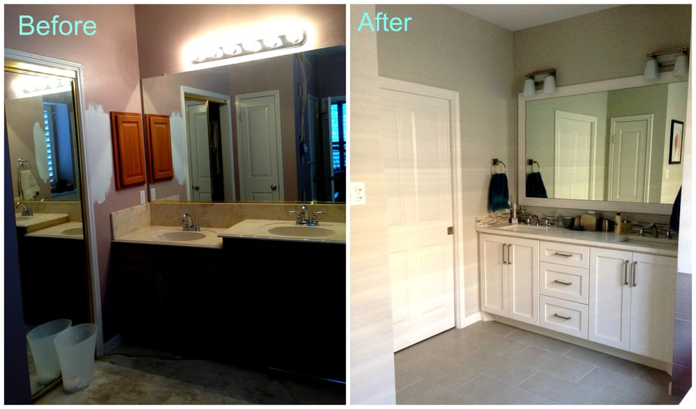 Our bathroom vanity cabinets before yuck and after for Bathroom cabinets yelp