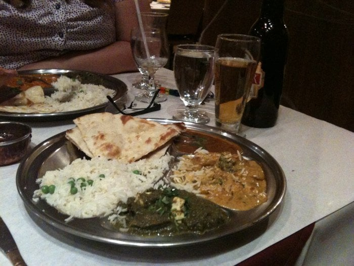 Combo plate with korma saag paneer and dal with for Aroma cuisine of india