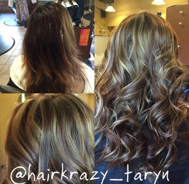 Before And After Chocolate Brown With Ash Blonde Highlights And A