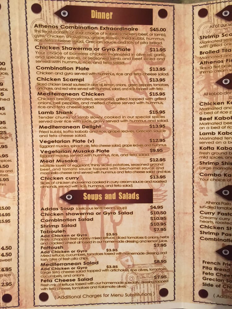 Athenos Greek Lebanese Cafe Menu Houma