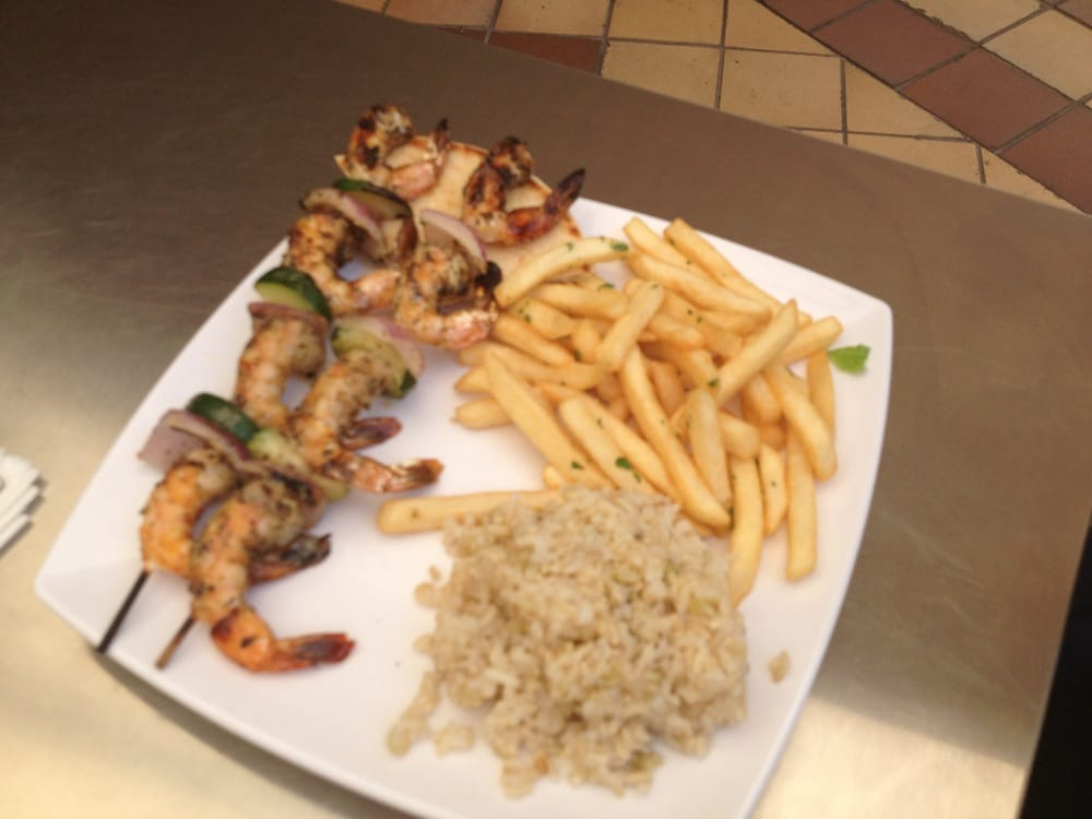 Grilled shrimp skewers with brown rice fries yelp for Malibu fish grill