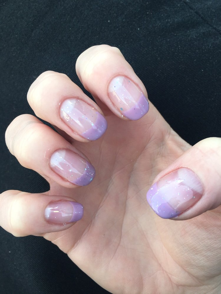 Fun lavender French manicure with sparkles! - Yelp