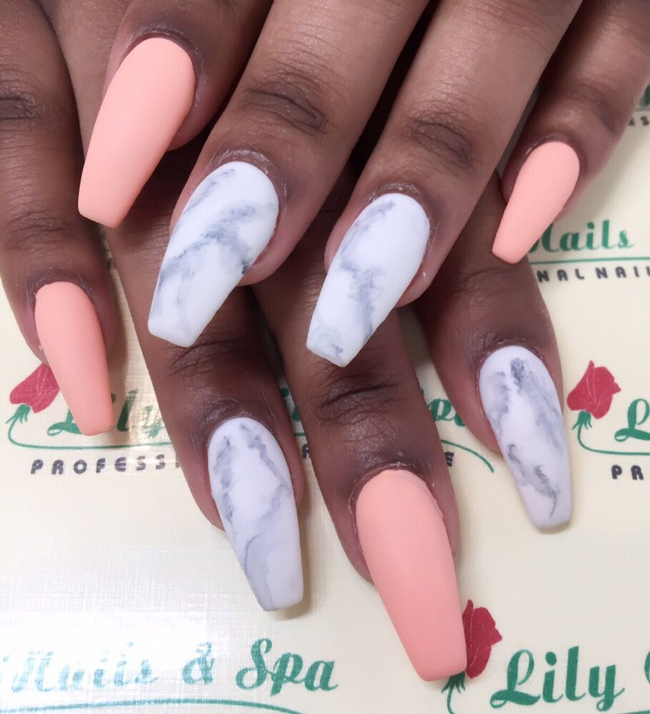 MARBLE NAILS.... MATTE PEACH GEL..... DONE BY LILY!!! - Yelp