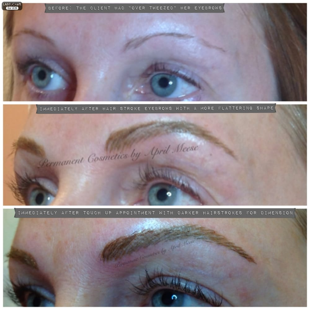 Before After Initial Procedure Of Hair Stroke Permanent Eyebrows