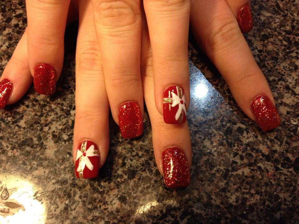Christmas bow nail design yelp photo of epic nails addison il united states christmas bow nail design prinsesfo Images